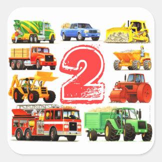 Big Trucks 2nd Birthday Square Sticker