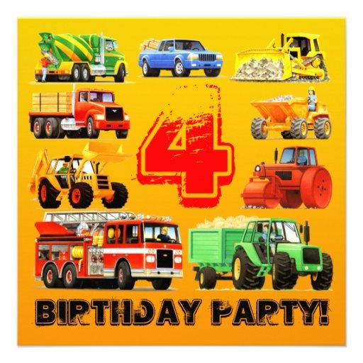 Big Trucks 4th Birthday Party Announcement