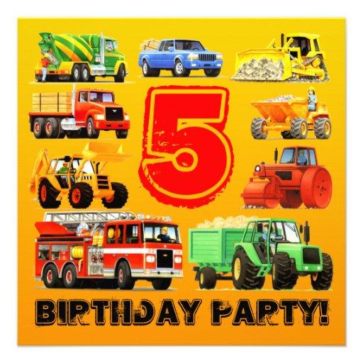Big Trucks 5th Birthday Party Personalized Invite
