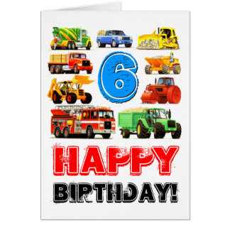 Big Trucks 6th Birthday Greeting Card