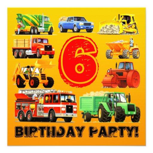 Big Trucks 6th Birthday Party Invites