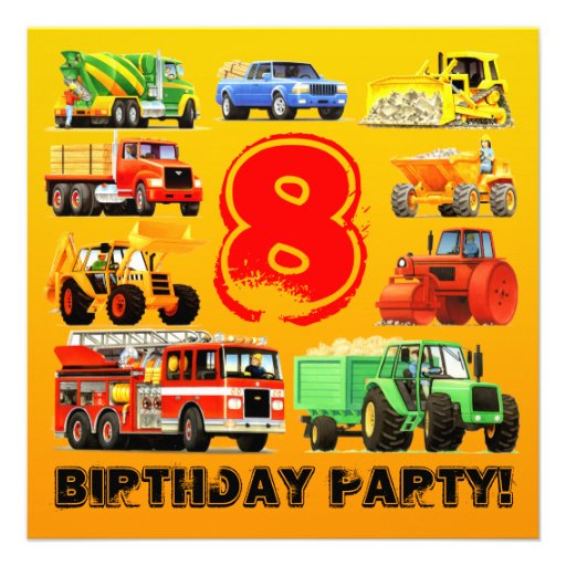 Big Trucks 8th Birthday Party Personalized Announcements