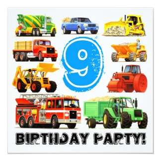 Big Trucks 9th Birthday Party Personalized Announcements