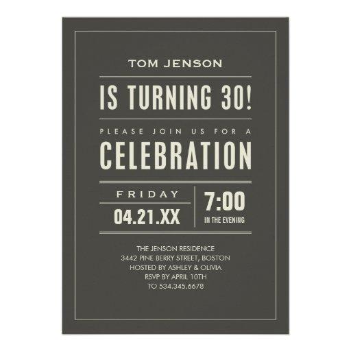 Big Type 30th Birthday Invitations