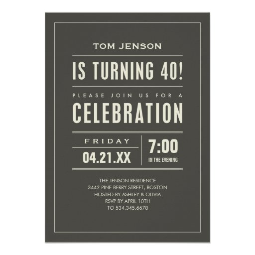 Big Type 40th Birthday Invitations