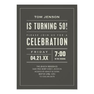 Big Type 50th Birthday Invitations