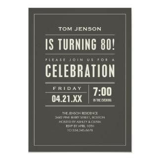 Big Type 80th Birthday Invitations