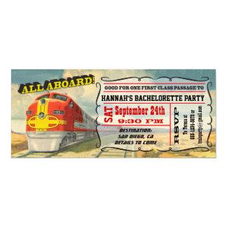 BIG Vintage Train Ticket Bachelorette Party 10 Cm X 24 Cm Invitation Card