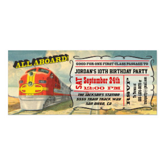 BIG Vintage Train Ticket Birthday Party 10 Cm X 24 Cm Invitation Card