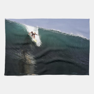 Big wave surfing tropical paradise surf tea towel