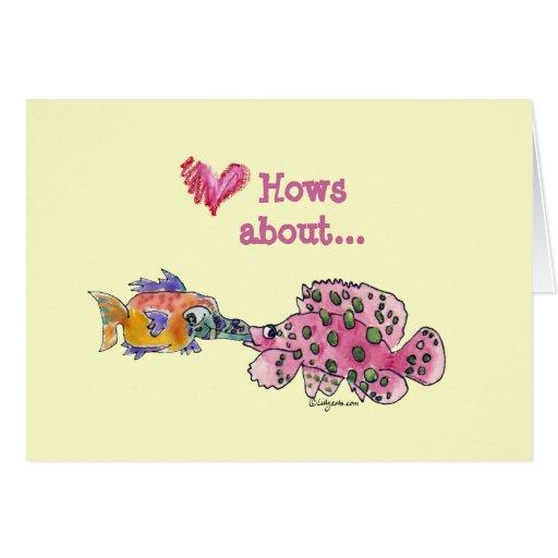 Big Wet Kiss Cartoon Fish Cards