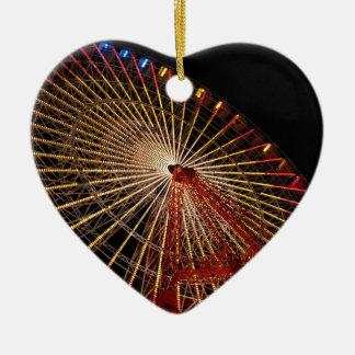 Big Wheel Funfair Night.jpg Ceramic Heart Decoration
