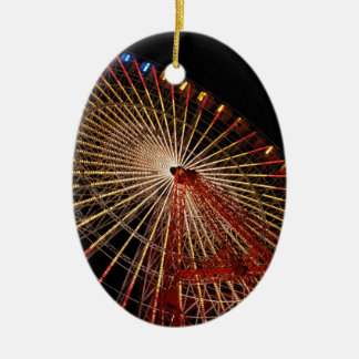 Big Wheel Funfair Night.jpg Ceramic Oval Decoration