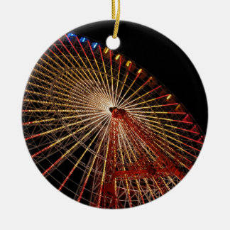Big Wheel Funfair Night.jpg Round Ceramic Decoration