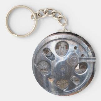 Big Wheels Keep on Turnin' Railroad Engine Basic Round Button Key Ring