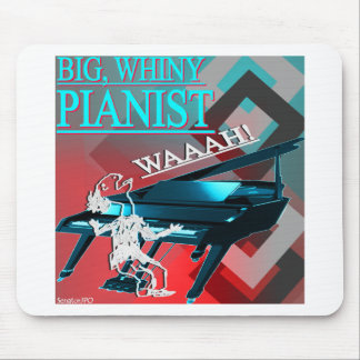Big Whiny Pianist Blue and Red Mouse Pad