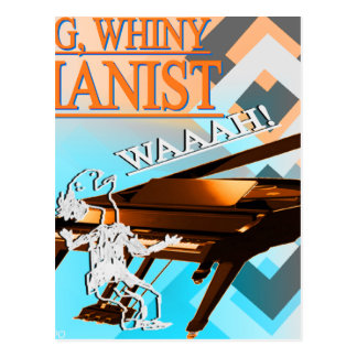 Big Whiny Pianist Cyan Orange Postcards