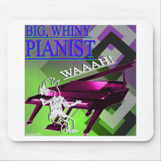 Big Whiny Pianist Green Pink and Blue Mousepads