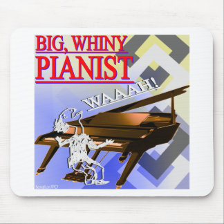 Big Whiny Pianist Red Blue and Yellow Mouse Pads