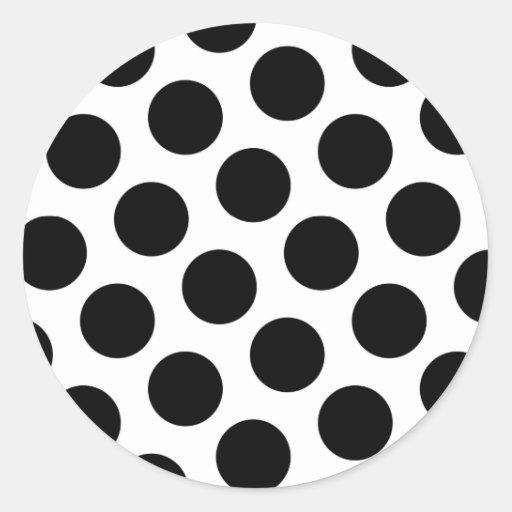 Big White and Black Polka Dots Stickers