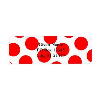 Big White and Red Polka Dots Return Address Label