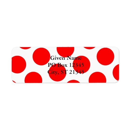 Big White and Red Polka Dots Return Address Label