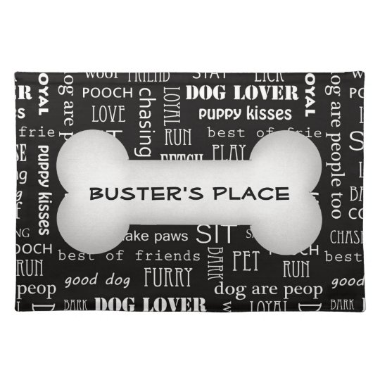 Big White Bone with Dog's Name on Black Placemat
