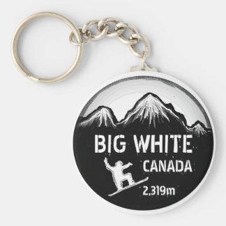 Big White Canada black snowboard art keychain