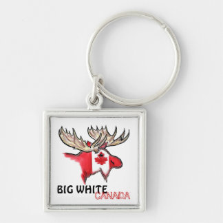 Big White Canada elk art flag red white keychain