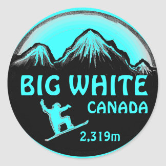 Big White Canada teal snowboard art stickers