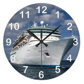 Big White Cruise Ship Large Clock