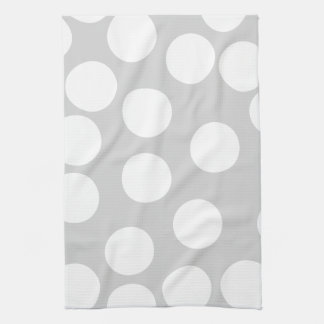 Big white dots on gray background. tea towel