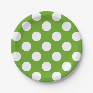 Big White Polka Dots on Green Apple 7 Inch Paper Plate