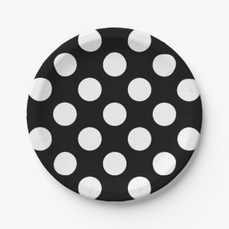 Big White Polka Dots on Raven Black 7 Inch Paper Plate