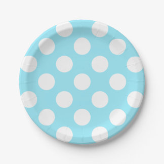 Big White Polka Dots on Summer Sky Blue Paper Plate