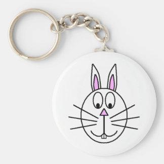 Big White Rabbit cartoon drawing Keychains