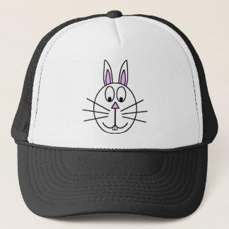 Big White Rabbit cartoon drawing Trucker Hat