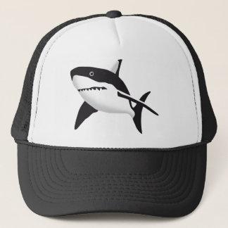 big white shark trucker hat
