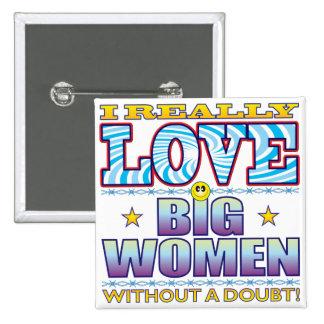Big Women Love Face 15 Cm Square Badge