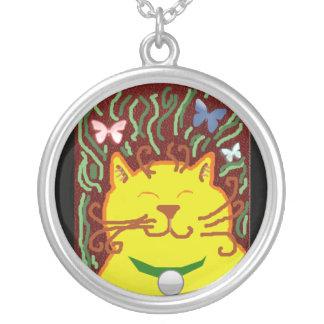 big yellow cat round pendant necklace