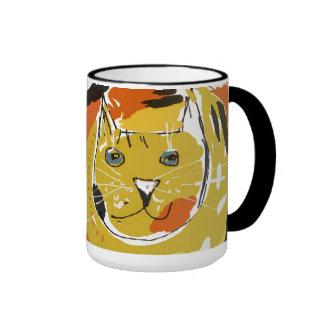 Big yellow cat's face ringer mug