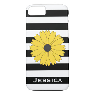 Big Yellow Daisy Black and White Striped iPhone 7 Case