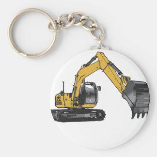 Big Yellow Excavator Basic Round Button Key Ring