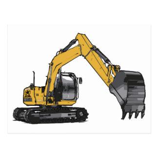 Big Yellow Excavator Postcard