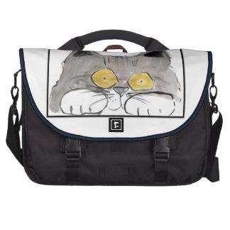 Big Yellow Eyes on gray kitten: Computer Bag