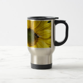 big yellow more flower with A bee Stainless Steel Travel Mug