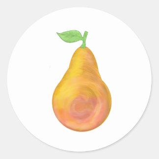 Big yellow pear classic round sticker