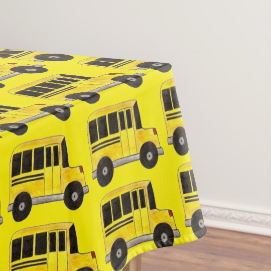 Big Yellow School Bus Print Tablecloth