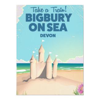 Bigbury on Sea Beach Devon Vintage travel poster 17 Cm X 22 Cm Invitation Card