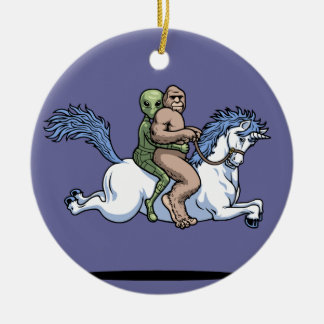 Bigfoot, Alien, Unicorn Christmas Ornament